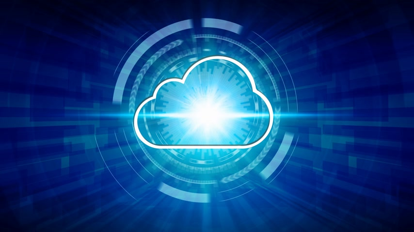 virtual cloud computing icon over the Network connection, Cyber Security Data Protection Business Technology Privacy concept.