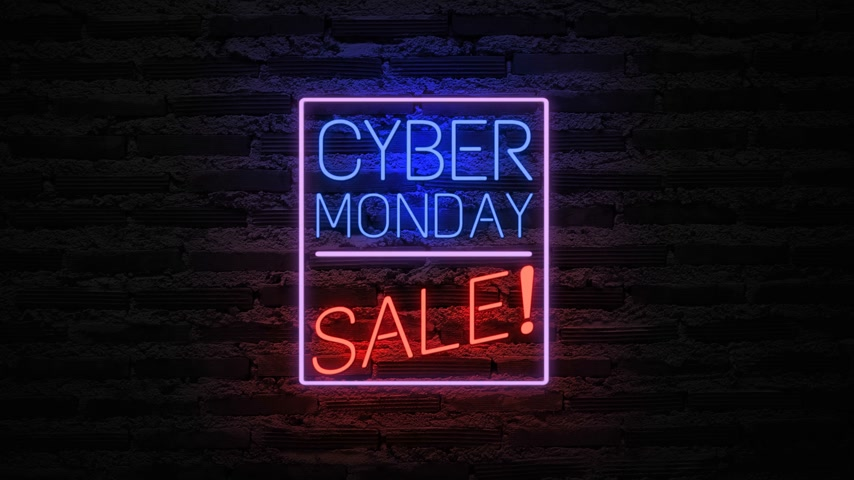 チラシ : Cyber Monday neon light on wall. Sale banner blinking neon sign style for promo video. concept of sale and clearance