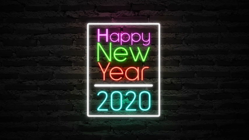 Happy New Year 2020 neon sign background new year concept Vídeos