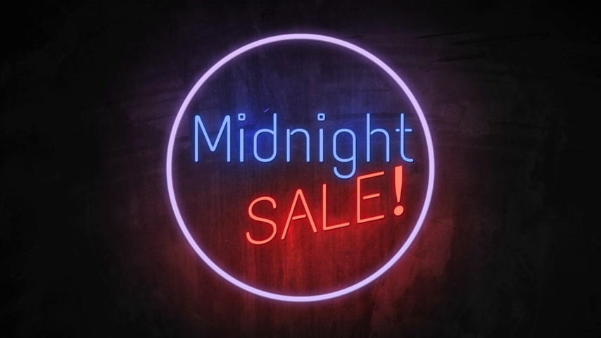 brochura : MIDNIGHT SALE neon light on wall. Sale banner blinking neon sign style for promo video. concept of sale and clearance