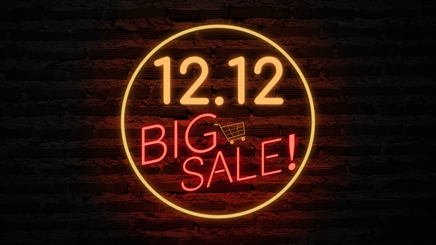 broşür : 12.12 BIG SALE neon light on wall. Sale banner blinking neon sign style for promo video. concept of sale and clearance Stok Video