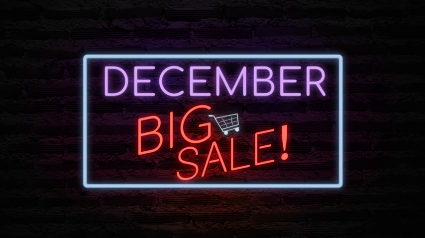 broşür : DECEMBER BIG SALE neon light on wall. Sale banner blinking neon sign style for promo video. concept of sale and clearance