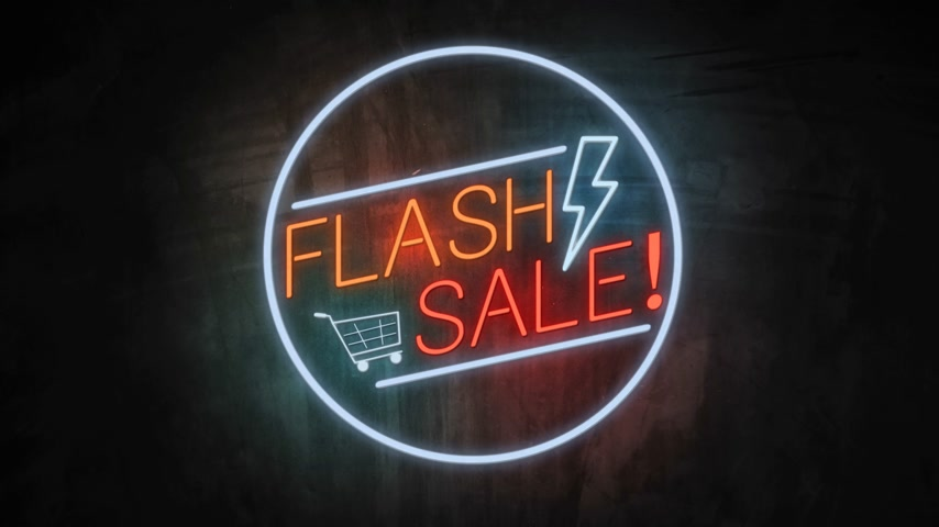FLASH SALE neon light on wall. Sale banner blinking neon sign style for promo video. concept of sale and clearance