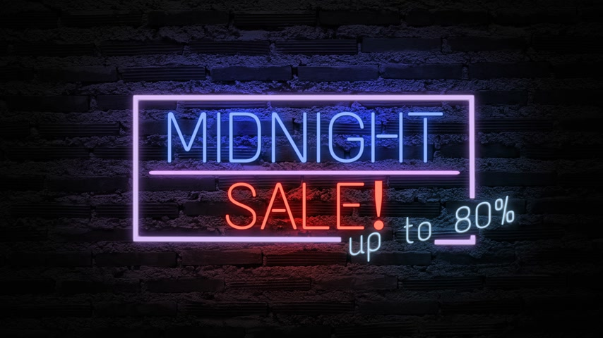 broşür : MIDNIGHT SALE neon light on wall. Sale banner blinking neon sign style for promo video. concept of sale and clearance