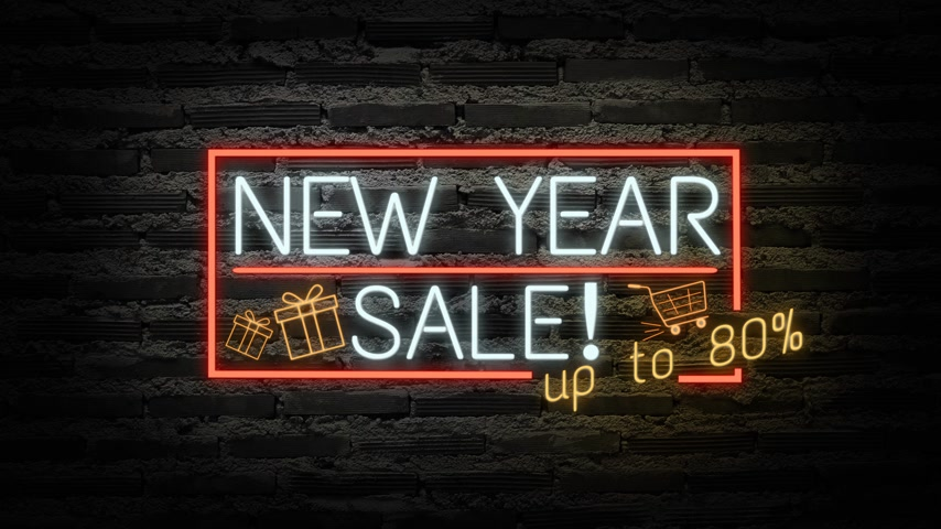 チラシ : NEW YEAR SALE neon light on wall. Sale banner blinking neon sign style for promo video. concept of sale and clearance