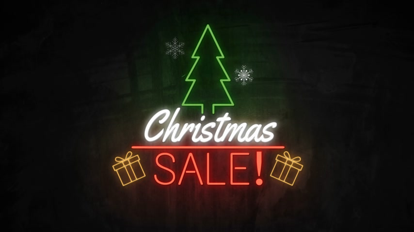 broşür : Christmas SALE neon light on wall. Sale banner blinking neon sign style for promo video. concept of sale and clearance Stok Video