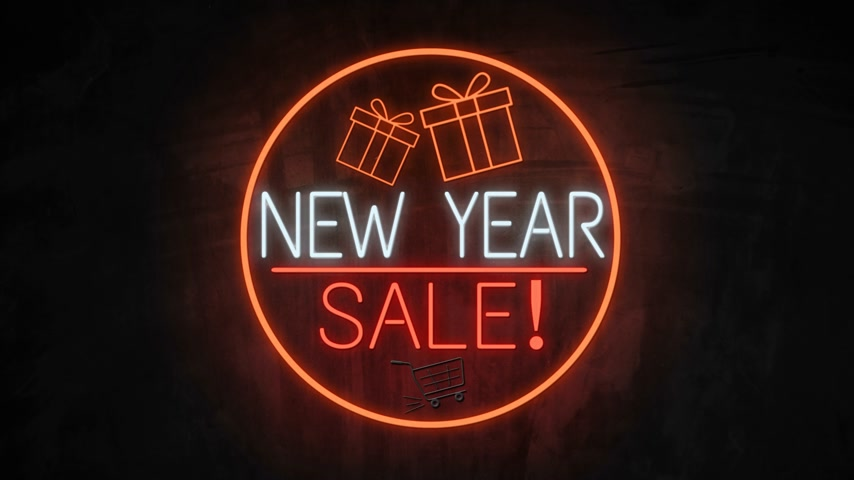 segunda feira : NEW YEAR SALE neon light on wall. Sale banner blinking neon sign style for promo video. concept of sale and clearance