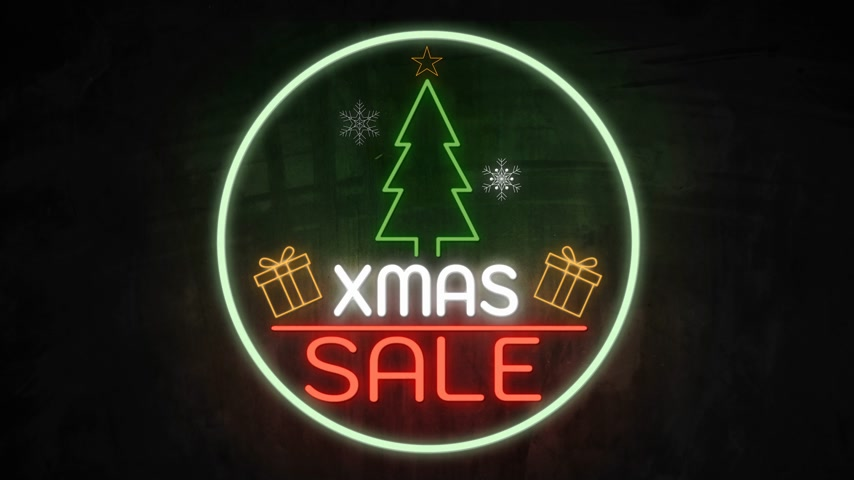 broşür : Xmas SALE neon light on wall. Sale banner blinking neon sign style for promo video. concept of sale and clearance