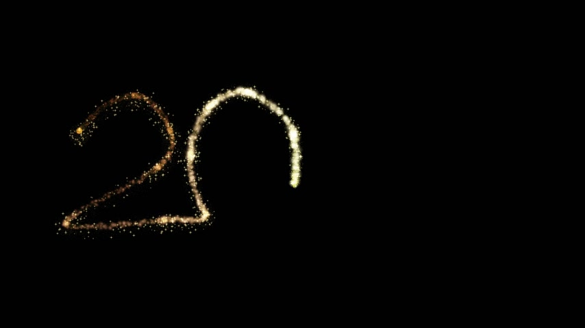 Animated 2020 glittering effect on back background. new year 2020 gold particles. new year concept.