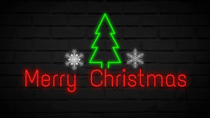 Merry Christmas neon light on wall. Banner blinking neon sign style.