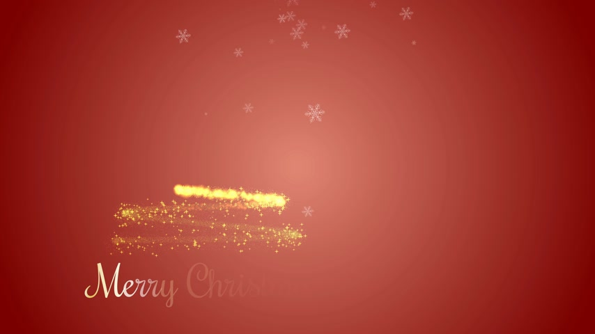 Animated Christmas tree with falling snowflakes on red background. Christmas tree made of gold particles. Vídeos