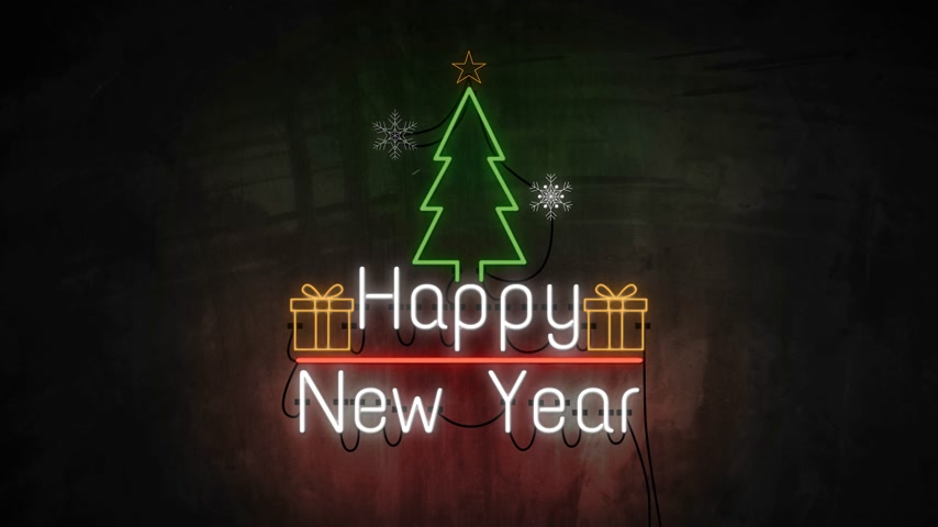 typografie : Happy New Year neon light on wall. Banner blinking neon sign style