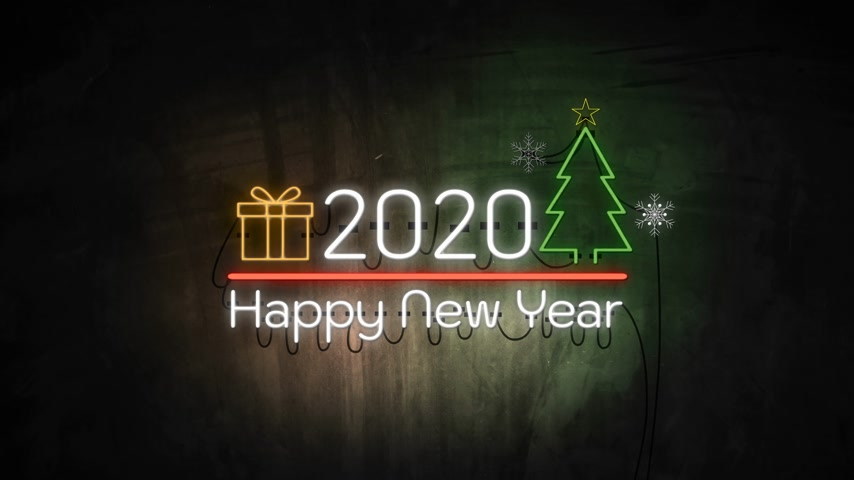 typografie : 2020 Happy New Year neon light on wall. Banner blinking neon sign style Dostupné videozáznamy