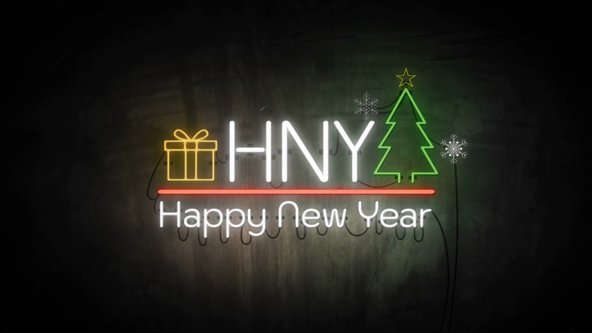typografie : Happy New Year neon sign background new year concept