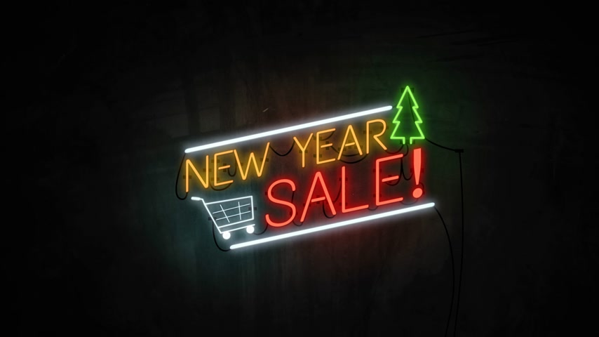 brochura : New Year SALE neon light on wall. Sale banner blinking neon sign style for promo video. concept of sale and clearance