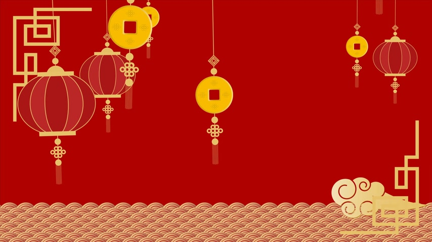 ansichtkaart : Animatie Happy Chinese New Year Festival, De welvaart van de Chinezen, Banner, briefkaart, (Chinees vertalen - fortuin) Stockvideo
