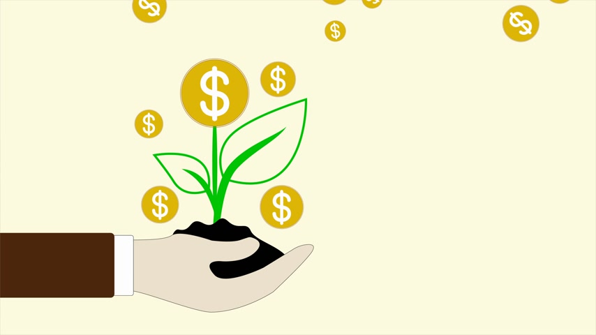pile of money : animation hand holding with money tree and coins dollar falling