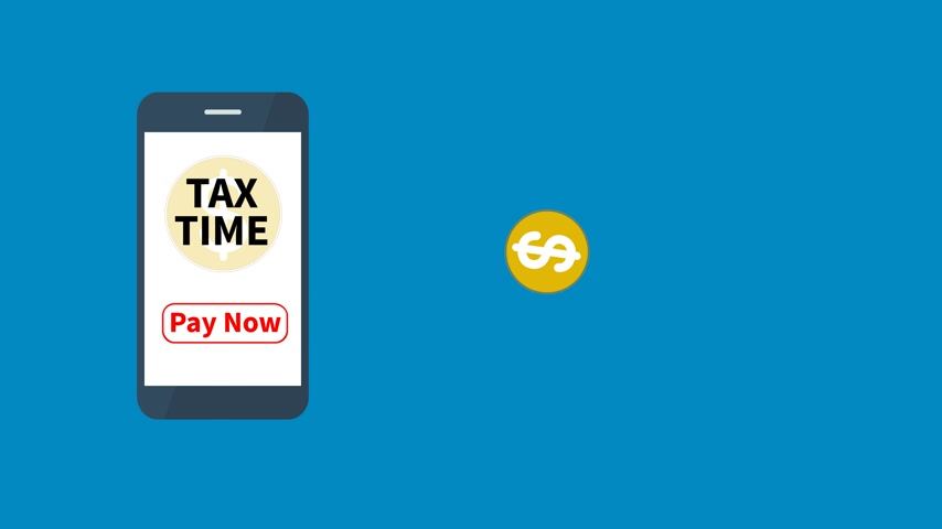 banking document : Tax time with smartphone application and use for tax pay, tax time animation.