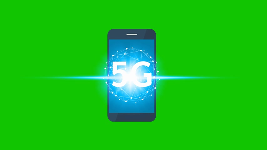 jel : Animation hand use smartphone network using 5G technology on a green screen background, Technology Internet 5G global network concept.
