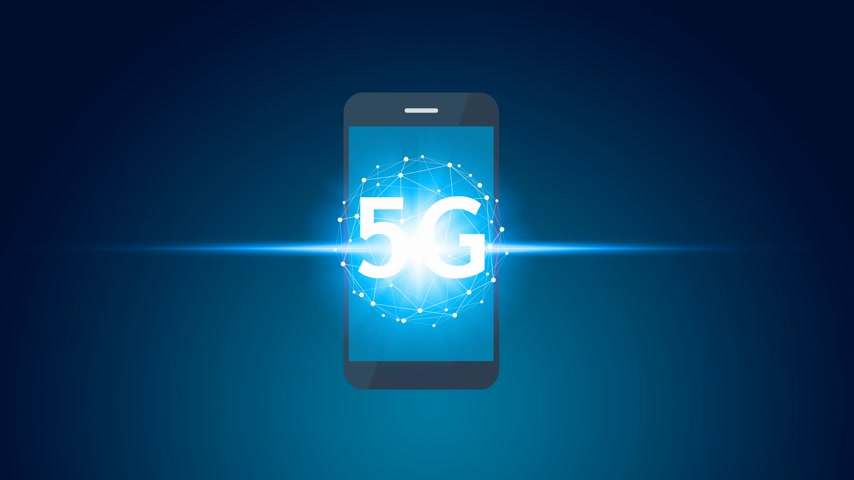 jel : Animation hand use smartphone network using 5G technology with virtual screen icons, Technology Internet 5G global network concept.