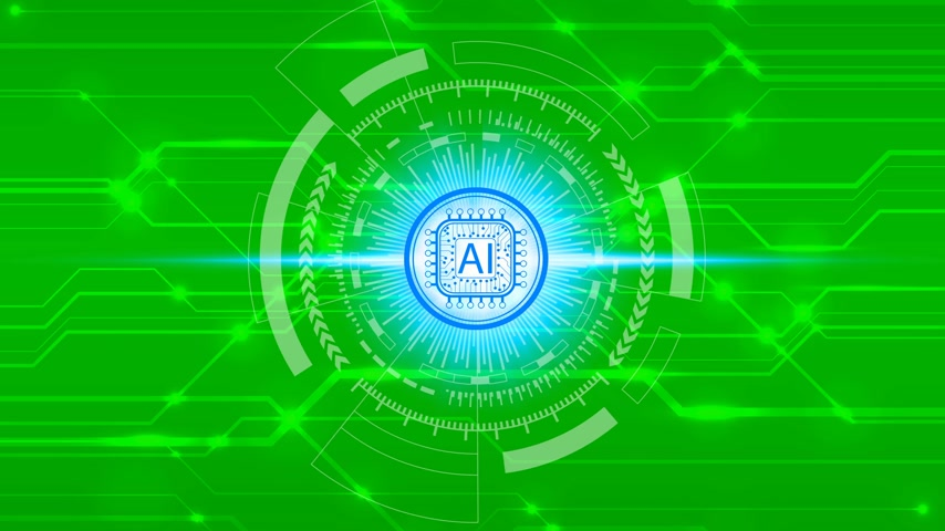 értelem : Animation Hand touch Artificial Intelligence (AI) technology icon over the Network connection on a green screen background, Artificial Intelligence Technology Concept Stock mozgókép