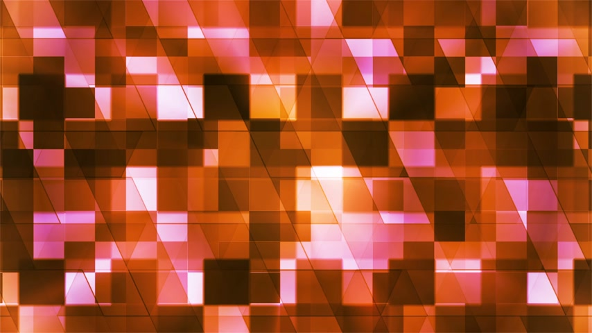 Twinkling Hi-Tech Squared Diamond Light Patterns, Orange, Abstract, Loopable, 4K Стоковые видеозаписи