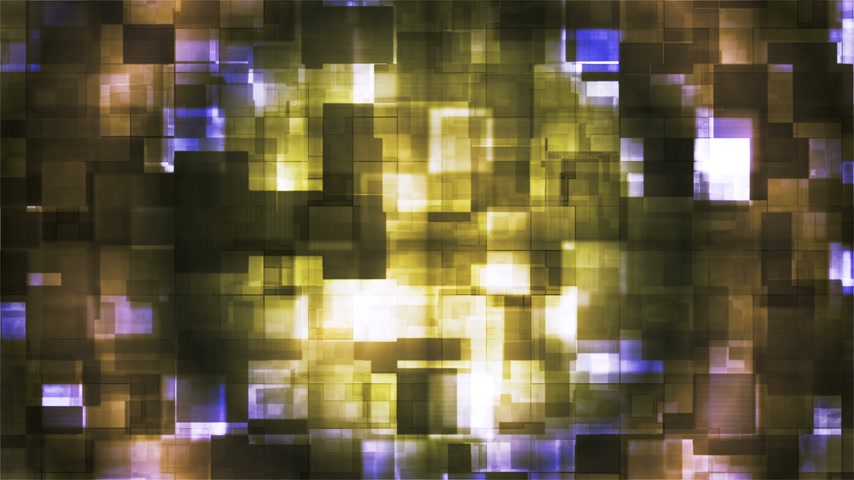 Broadcast Hi-Tech Squared Shifting Patterns, Yellow, Abstract, Loopable, 4K