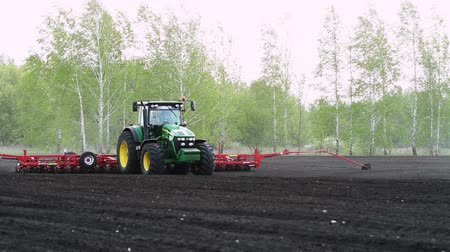 farm equipment : Sowing of sunflower by using contemporary agricultural machinery