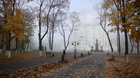 baptized : Park of Russian Orthodox Church in the autumn Stock Footage