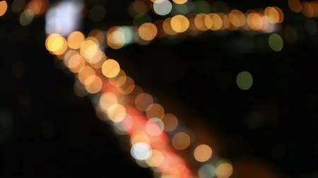 sunset city : Urban landscape. Illumination. City lights at night. Stock Footage