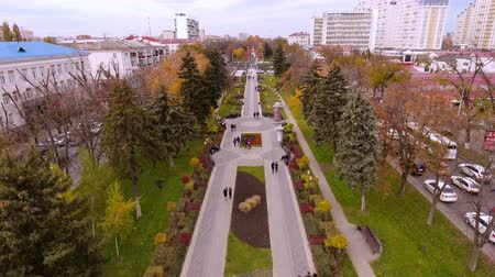great martyr : Aerial view of the russian southern city - Krasnodar. A pedestrian path. City park. Triumphal arch. Kings gate. 4K Stock Footage