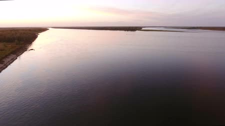 над : Aerial view of russian river Volga. The longest river in Europe. Russia. 4K