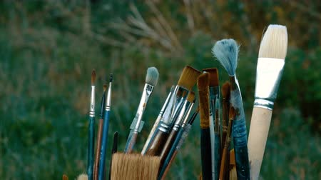 pallette : Close-up shot of paintbrushes for oil painting with green grass at the background. 4K