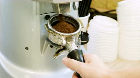 coffee press : Hot drink. Female barista making coffee in coffee bar. 4K Stock Footage