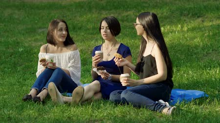 metáfora : Three young pretty women drinking coffee on a grass in a summer park. 4K Stock Footage