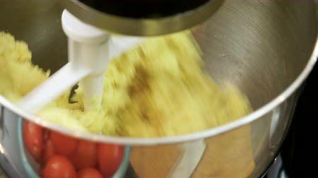 vermicelli : Cooking a pasta. Close-up shot of food processor kneading dough for tagliatelle. 4K
