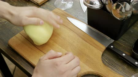 top chef : Close-up shot of mens hands kneading the dough for cooking pasta. 4K