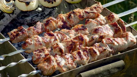 roston sült : Meat grilled on skewers. Cooking shish kebab. Pork meat prepared on fire. 4K