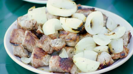 roston sült : Cooking shish kebab. Pork meat prepared on fire and grilled onion lying on white plate. 4K Stock mozgókép