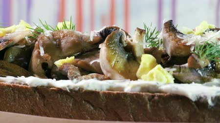 erva doce : European food. Close-up shot of an open sandwich with rye bread, fried mushrooms, cheese and dill. 4K