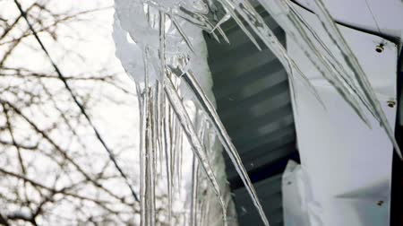 rampouch : Winter landscape. Close-up shot of icicles hanging from the roof of house. Slow motion. HD