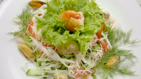 fennel : Healthy salad with mussels, shrimps, squid, lettuce, tomatoes, cucumber, apple, cheese. Slow motion. HD
