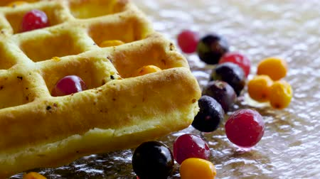 sea buckthorn : Sweet breakfast. Close-up shot of viennese waffles with fresh berries, honey, syrup on a glass plate. 4K Stock Footage