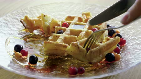 клюква : Eating Breakfast. Close-up shot of womens hands cutting viennese waffles with a knife and fork. 4K