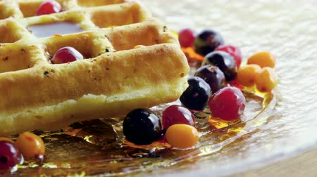 vörösáfonya : Sweet breakfast. Close-up shot of viennese waffles with fresh berries, honey, syrup on a glass plate. 4K Stock mozgókép
