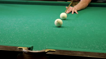 テーブルクロス : Man playing billiards, hitting the balls with a cue into pockets on a billiard table. 4K