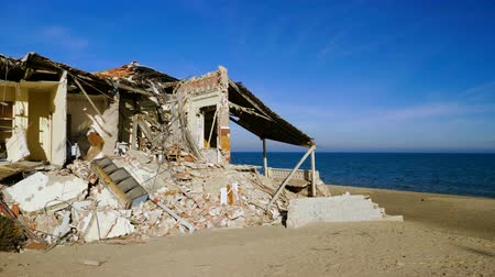 danger of collapse : The ruins of an old abandoned house on the Mediterranean coast in Spain. 4K Stock Footage