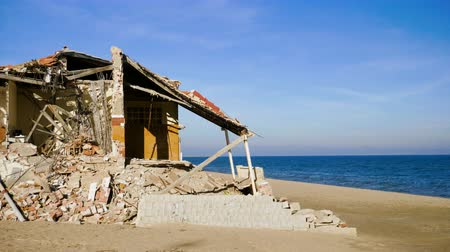 aftermath : The ruins of an old abandoned house on the Mediterranean coast in Spain. 4K Stock Footage