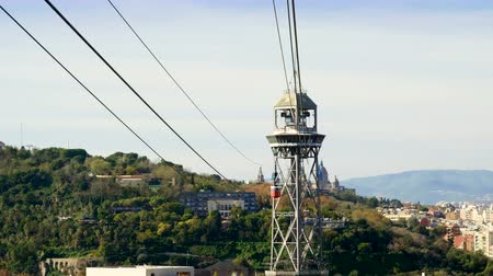 funicular : Cable car to Montjuic mountain. City view of Barcelona. Spain. Europe. 4K Stock Footage