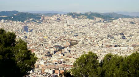 Urban landscape. View of city Barcelona from Montjuic mountain. Spain. 4K Stock Footage